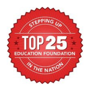 "Red emblem that reads ""Stepping up Top 25 education foundation in the nation"", Hillsborough Education Foundation"