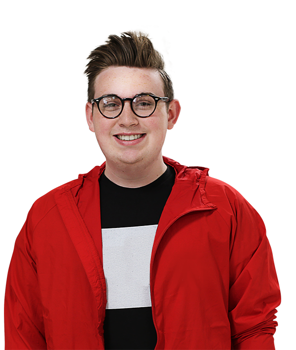 Cutout of teenage boy wearing glasses and red jacket, smiling, with transparent background, Hillsborough Education Foundation