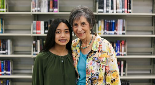 Mentor and mentee, young girl standing beside older woman, Hillsborough Education Foundation, mentoring