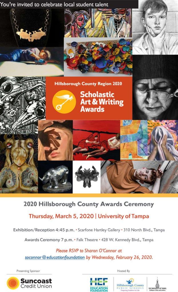 Invitación para los premios Scholastic Arts & Writing Awards 2020
